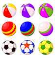colorful cartoon rubber ball set vector image
