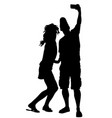 couple in love taking selfie picture silhouette vector image