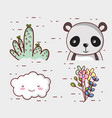 cute panda bear doodle cartoon vector image