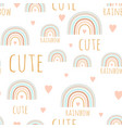 cute rainbow seamless pattern in scandinavian vector image