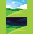 day and night nature scene vector image vector image