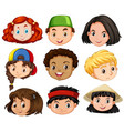 different faces of boys and girls vector image vector image