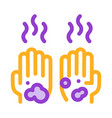 dirty and smelly hands icon outline vector image vector image