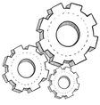 doodle gears vector image vector image