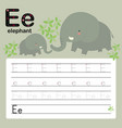 e elephant alphabet tracing worksheet for presch vector image vector image