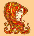 fiery goddess bright orange yellow red color hair vector image