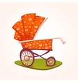flat red baby carriage on vector image