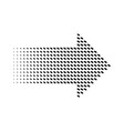 halftone gradient dots arrow graphic element vector image vector image
