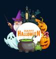 halloween pumpkins with candies ghosts wizard vector image vector image