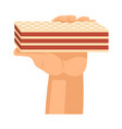 hands offers sweetness with cake arm vector image vector image