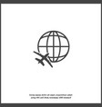 icon airplane flying around globe on white vector image vector image