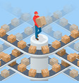 isometric packed courier on production line vector image