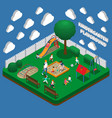 kindergarten play ground isometric composition vector image