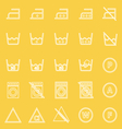 Laundry line icons on yellow background vector image vector image