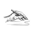 left hand holds stylus for drawing vector image vector image