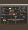 library interior with bookshelves flat vector image vector image