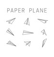 line paper planes icons vector image