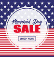 memorial day sale banner template with usa flag vector image