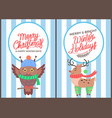merry christmas owl and reindeer poster vector image vector image