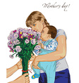 mother day and bouquet of flowers vector image vector image