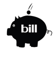 piggybank for bill silhouette vector image