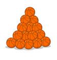 Pile of basketball ball many of orange balls vector image vector image