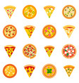 pizza icon set flat style vector image vector image