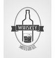 poster or logotype with whiskey bottle and glass vector image