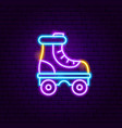 roller skate neon label vector image vector image