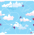 Seamless pattern with swallows hearts and clouds vector image