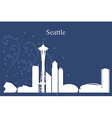 Seattle city skyline on blue background vector image