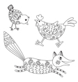 Set Chick Hen and Fox vector image