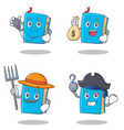 set of blue book character with doctor money bag vector image