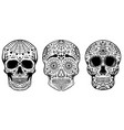 set of hand drawn sugar skulls isolated on white vector image