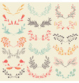 Set of hand drawn symmetrical floral graphic vector image vector image