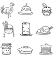 Set of Sketch doodle Thanksgiving vector image