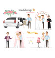 set of wedding pictures bride and groom in love vector image vector image