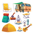 summer camp with tent bonfire backpack and van vector image