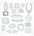 Collection of doodle frames for wedding vector image