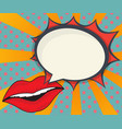 abstract woman lips with speech bubble comic book vector image