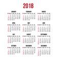 calendar 2018 year week starts sunday us vector image