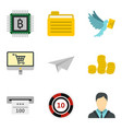 courier service icons set cartoon style vector image