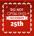25 dec typographic with red background and frame vector image