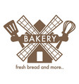 bakery with fresh bread isolated icon windmill vector image