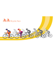 Bicycle Race Men and Women Riding Road Bikes vector image vector image