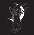 black cat with pointy witch hat line art vector image vector image