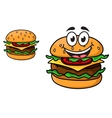 Cartoon cheeseburger with a laughing face vector image vector image