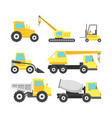 cartoon construction machinery color icons set vector image vector image