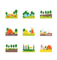 cartoon eco farm color icons set vector image vector image