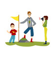 cartoon family hiking - man in proud pose putting vector image vector image